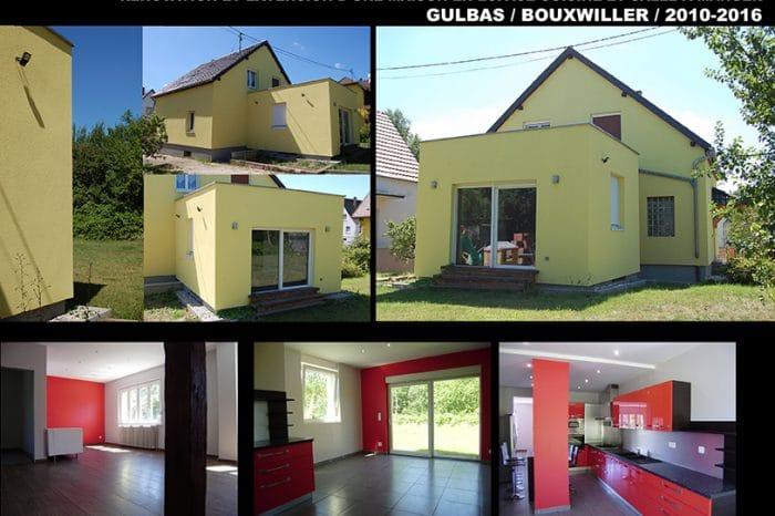 Rénovation et extension d'une maison en espace cuisine et salle à manger.